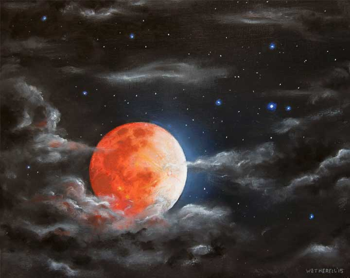 Blood Moon - astronomy space painting