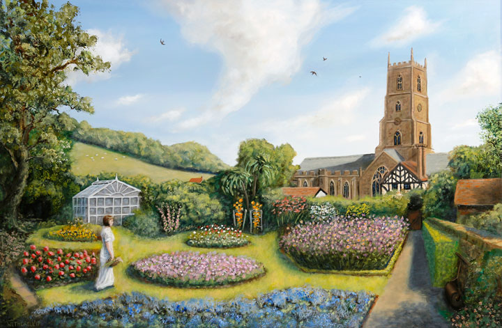 painting of the dream garden at Dunster
